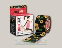 Кинезиотейп RockTape Design, 5см х 5м Черный с желтыми цветами