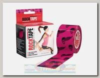Кинезиотейп Rocktape Design, 5см х 5м, Розовый с черепами